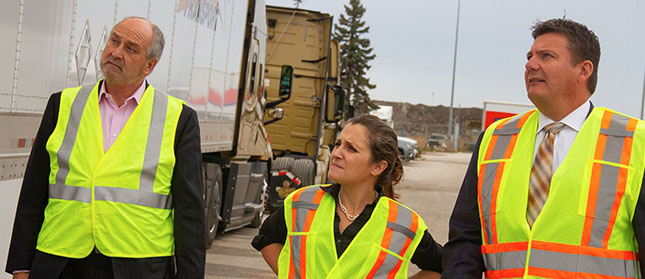 Foreign Affairs' Freeland Discusses Trucking-Border Issues at Bison